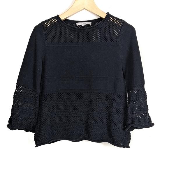 Ann Taylor LOFT Crochet Trim Pullover Sweater